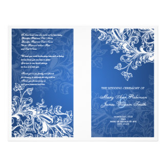 Elegant Wedding Program Vintage Swirls Blue