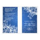 Elegant Wedding Program Vintage Swirls Blue Flyer