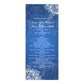Elegant Wedding Program Vintage Swirls Blue 4x9.25 Paper Invitation Card