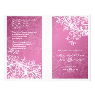 Elegant Wedding Program Vintage Swirls Pink