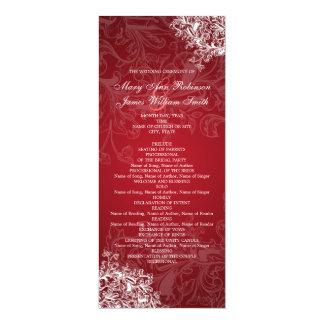 Elegant Wedding Program Vintage Swirls Red