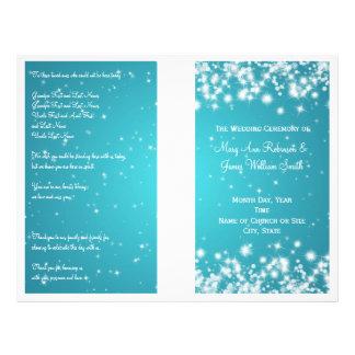Elegant Wedding Program Winter Sparkle Blue