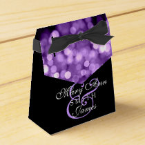 Elegant Wedding Purple Lights Favor Box