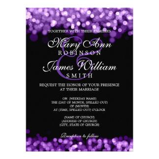Elegant Wedding Purple Lights Custom Invites