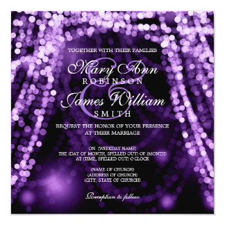Elegant Wedding Purple String Lights Card