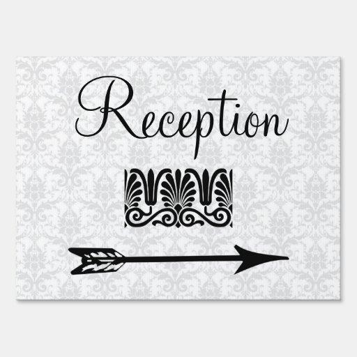 Elegant Wedding Reception Directional Arrow Yard Signs