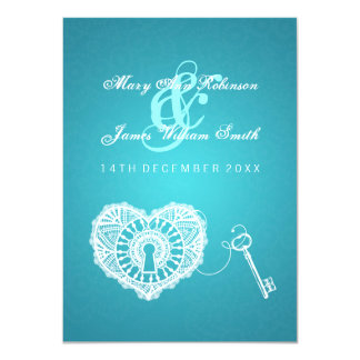 Elegant Wedding Reception Key To My Heart Turquois Card