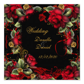 Elegant Wedding Red Roses Gold Black A 5.25x5.25 Square Paper Invitation Card