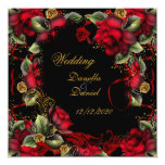 Elegant Wedding Red Roses Gold Black A Invitations