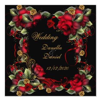 Elegant Wedding Red Roses Gold Black Invitations