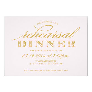 "Elegant Wedding Rehearsal Dinner Invitation 5"" X 7"" Invitation Card"
