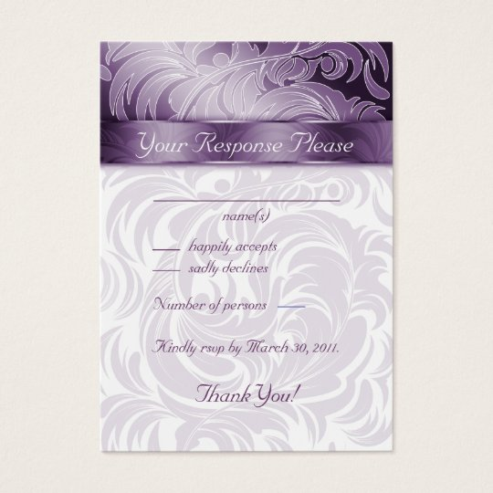 Elegant Wedding Response Cards Floral Leaf Purple