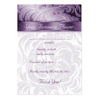Elegant Wedding Response Cards Floral Leaf Purple Large Business Cards (Pack Of 100)