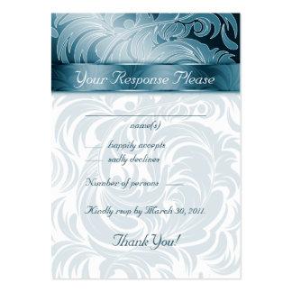 Elegant Wedding Response Cards Floral Leaf Teal Large Business Cards (Pack Of 100)