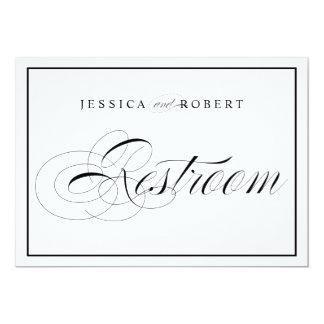 Elegant Wedding Restroom Sign Black Border Card