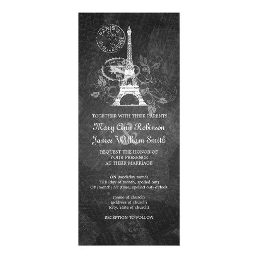 Elegant Wedding Romantic Paris Black Announcements