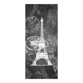 Elegant Wedding Romantic Paris Black 4x9.25 Paper Invitation Card