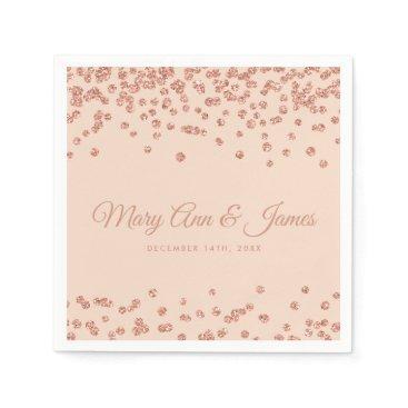 Bride Themed Elegant Wedding Rose Gold Glitter Confetti Blush Paper Napkin