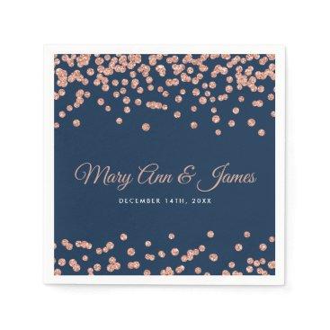Wedding Themed Elegant Wedding Rose Gold Glitter Confetti Navy Paper Napkin