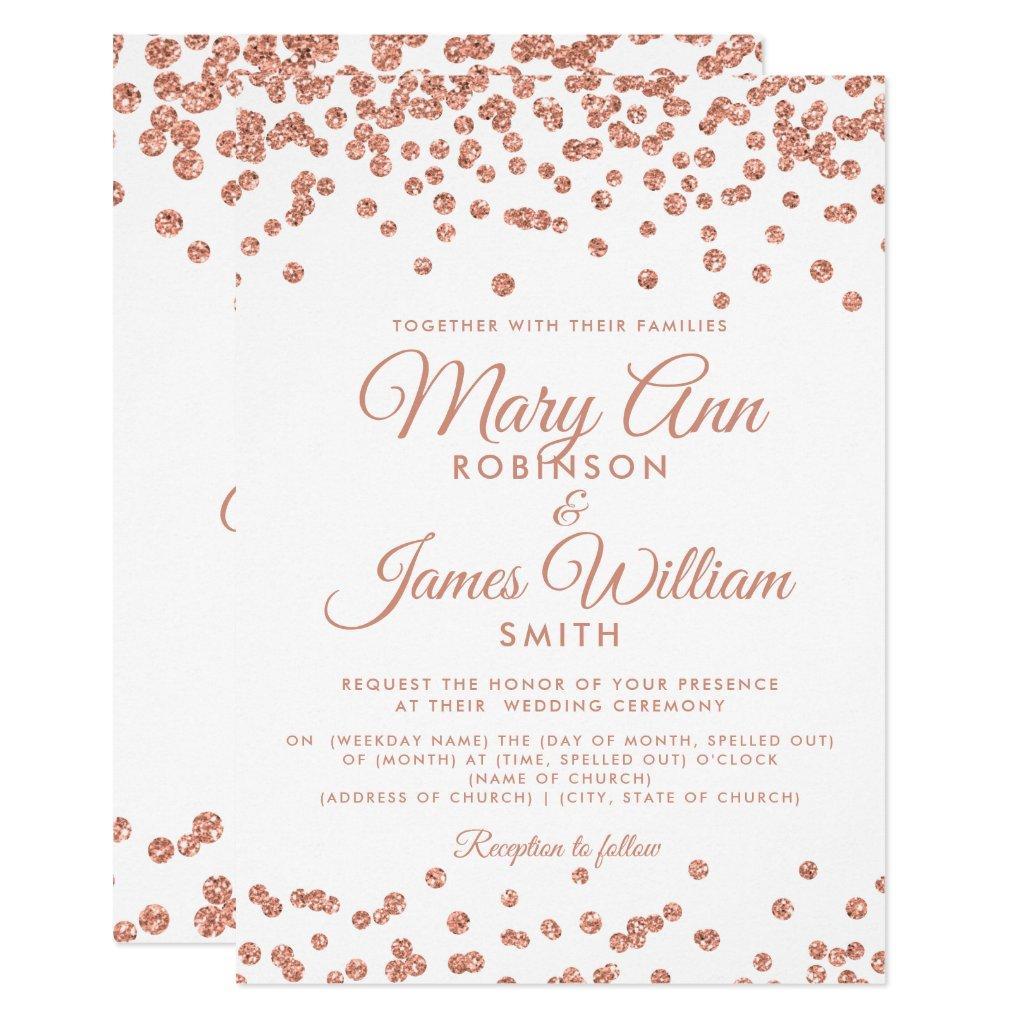 Elegant Wedding Rose Gold Glitter Confetti White Invitation