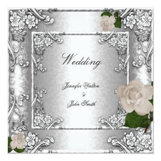 Elegant Wedding Rose Silver White 2 Card