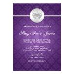 Elegant Wedding Royal Crown Purple Custom Announcement