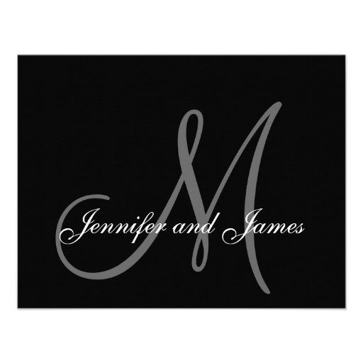 Elegant Wedding RSVP Card with Monogram Personalized Announcement