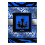 Elegant Wedding RSVP Chandelier Zebra Blue 3.5x5 Paper Invitation Card