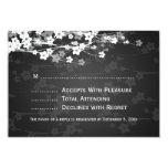 Elegant Wedding RSVP Cherry Blossom Black 3.5x5 Paper Invitation Card