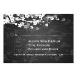Elegant Wedding RSVP Cherry Blossom Black Personalized Invites