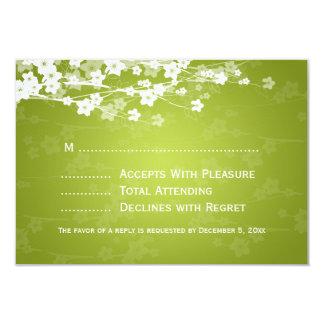 Elegant Wedding RSVP Cherry Blossom Lime Green Custom Announcement
