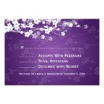 Elegant Wedding RSVP Cherry Blossom Purple Invitation