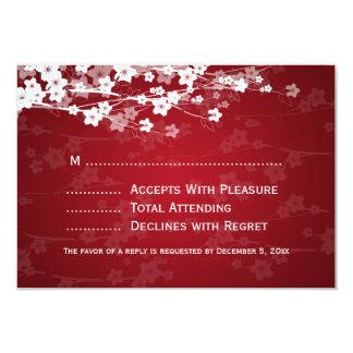 Elegant Wedding RSVP Cherry Blossom Red 3.5x5 Paper Invitation Card