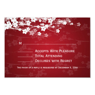 Elegant Wedding RSVP Cherry Blossom Red Card
