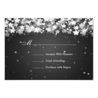 Elegant Wedding RSVP Dazzling Stars Black Custom Invitation