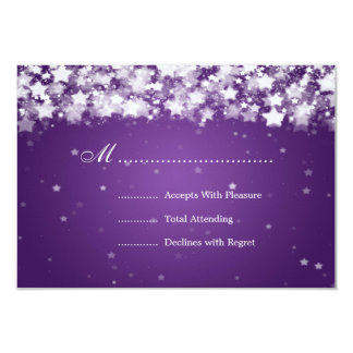 Elegant Wedding RSVP Dazzling Stars Purple Card