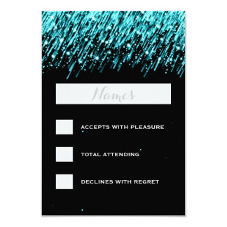 Elegant Wedding RSVP Falling Stars Turquoise Card