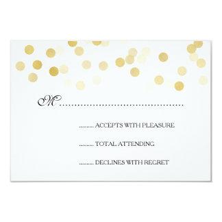 Elegant Wedding RSVP Faux Gold Foil Glitter Lights 3.5x5 Paper Invitation Card