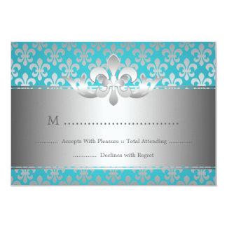 Elegant Wedding RSVP Fleur De Lis Blue 3.5x5 Paper Invitation Card