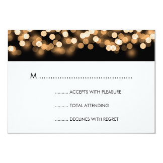 Elegant Wedding RSVP Gold Hollywood Glam 3.5x5 Paper Invitation Card