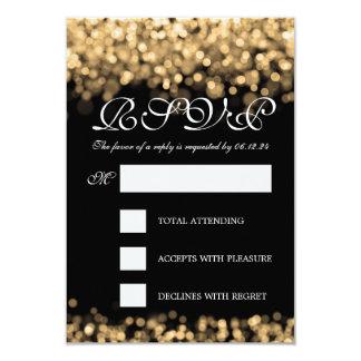 Elegant Wedding RSVP Gold Lights 3.5x5 Paper Invitation Card
