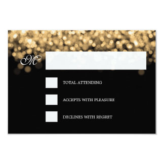 Elegant Wedding RSVP Gold Lights CUSTOM Card