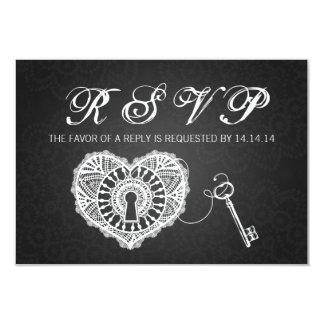 Elegant Wedding RSVP Key To My Heart Black Card