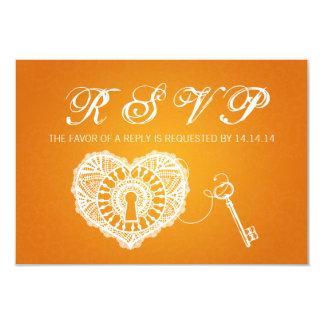 Elegant Wedding RSVP Key To My Heart Orange 3.5x5 Paper Invitation Card