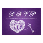 "Elegant Wedding RSVP Key To My Heart Purple 3.5"" X 5"" Invitation Card"