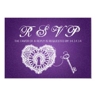 Elegant Wedding RSVP Key To My Heart Purple 3.5x5 Paper Invitation Card