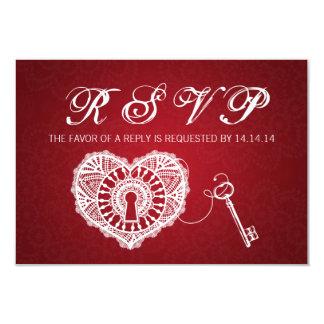 Elegant Wedding RSVP Key To My Heart Red Card