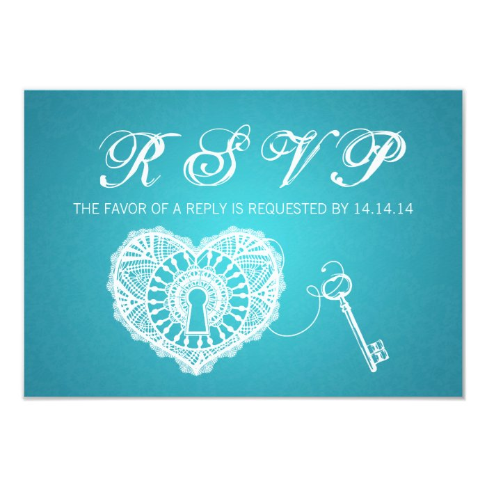 Elegant Wedding RSVP Key To My Heart Turquoise Card