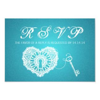 Elegant Wedding RSVP Key To My Heart Turquoise Card