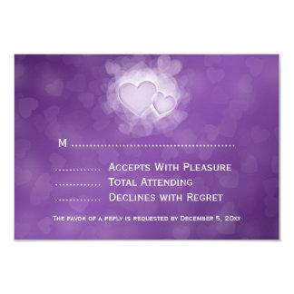 Elegant Wedding RSVP Modern Hearts Purple Card
